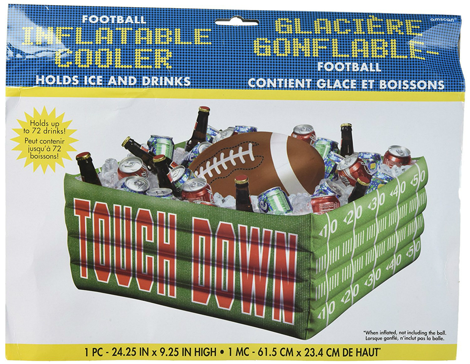 Inflatable Plastic Party Cooler Beverage Tailgating Ice Chest Drinks Football
