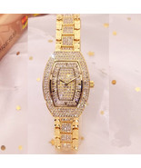Bling-ed Out Silver Round Luxury Womens Watch w/Bling-ed Out  Bracelet - £57.81 GBP