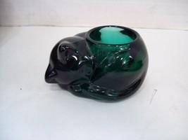 Indiana Glass Emerald Green Kitten / Cat Votive Candle Holder #3865   - $9.85