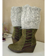 NIB AUSTRALIA LUXE COLLECTIVE ANJA OLIVE LACE WEDGE BOOTS W/SOCK~10 - £102.52 GBP