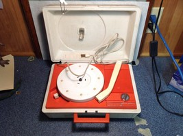 Really Cool Orange and White Vintage Record Player by GE