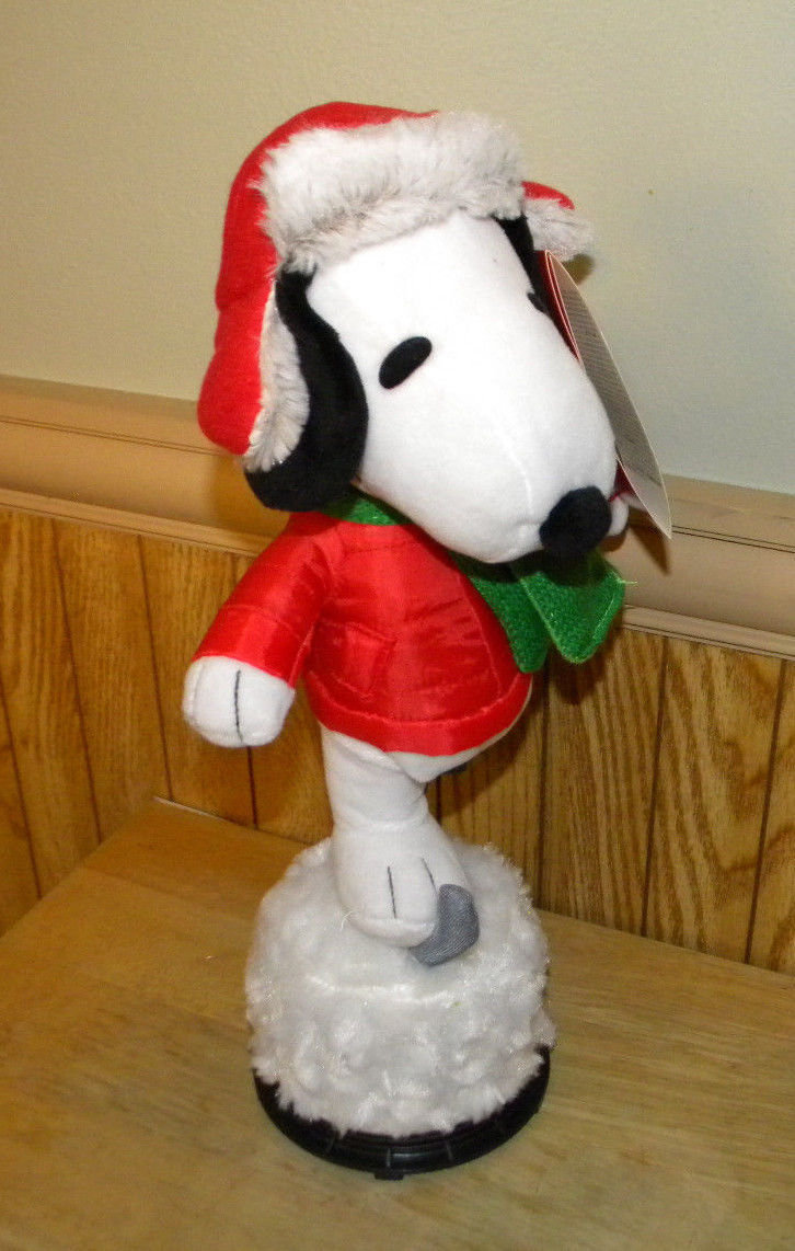 Gemmy Peanuts Snoopy Musical Skating Figure Trapper Hat ...