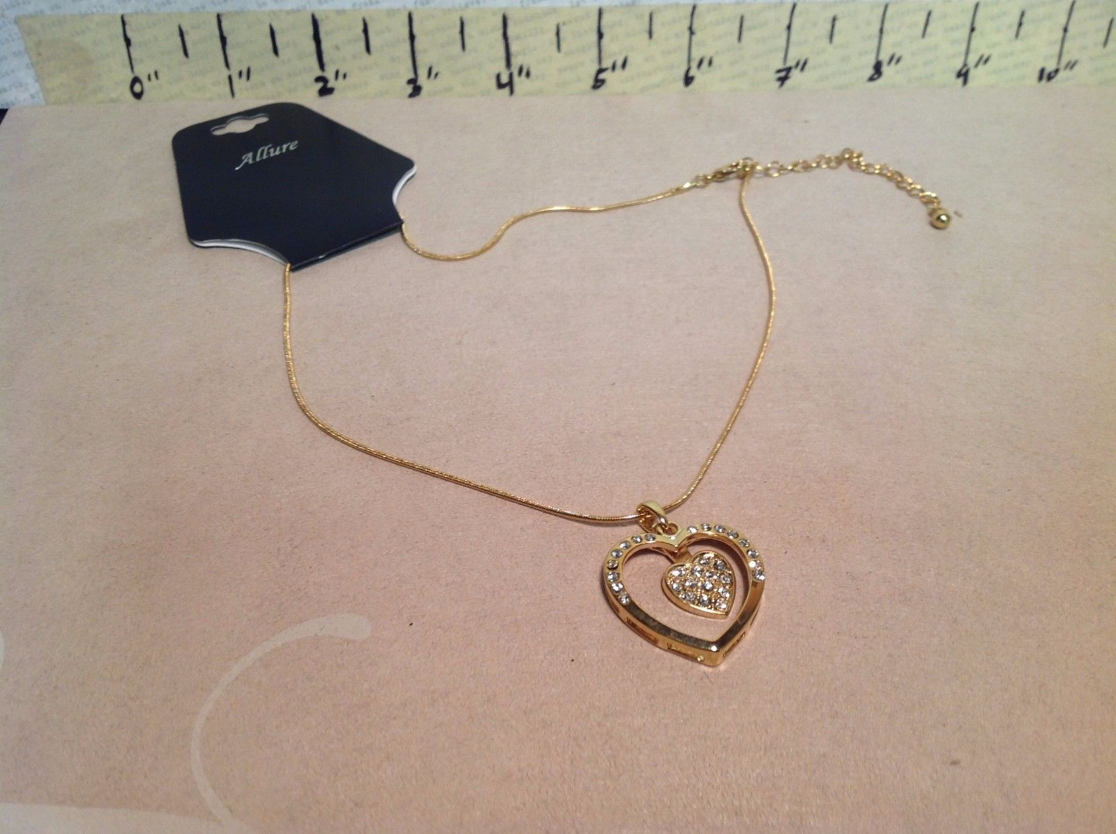 Gold Tone Heart Pendant Necklace w Crystals