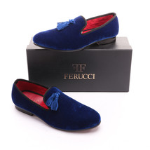 Handmade-FERUCCI-Men-Blue-Velvet-Slippers-loafers-with-blue-Tassel  Handmade-FE - $149.99