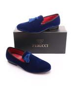 Handmade-FERUCCI-Men-Blue-Velvet-Slippers-loafers-with-blue-Tassel  Han... - $149.99