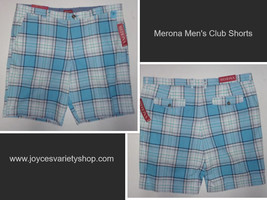 Men's Light Blue Plaid Shorts The Club Merona Collect NWT Sz 42 Cotton  - $14.99