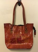 Laurel Burch Cat Satchel Purse Brown Leather Shoulder Bag Tote Shopper H... - $24.99