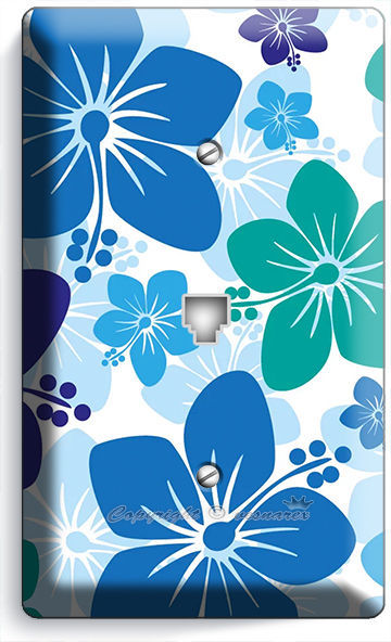 BLUE HAWAIIAN HIBISCUS FLOWERS PHONE TELEPHONE WALL PLATE COVER BOYS ROOM DECOR
