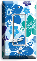 Blue Hawaiian Hibiscus Flowers Single Gfi Light Switch Plate Cover Bedroom Decor - $8.99