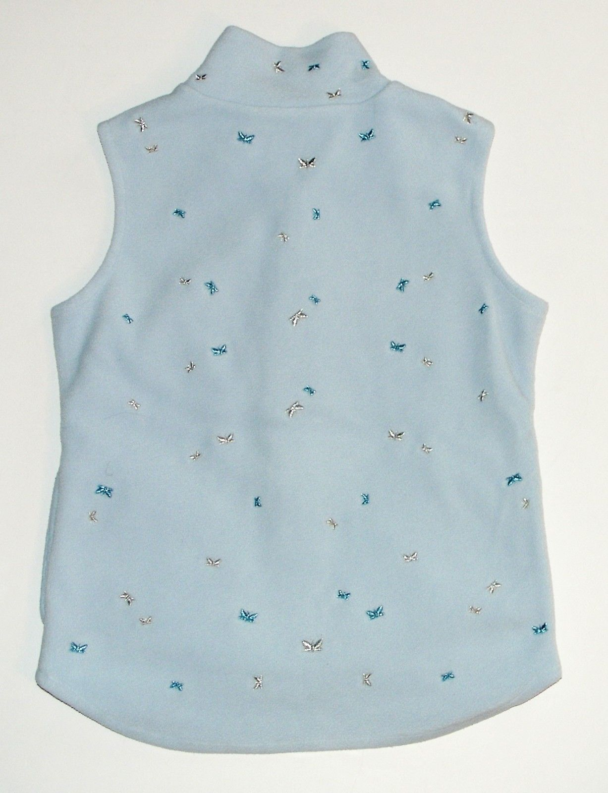 GAP Blue Plush Velour Sparkly Butterfly Embroidered Zip Vest Girls Size M
