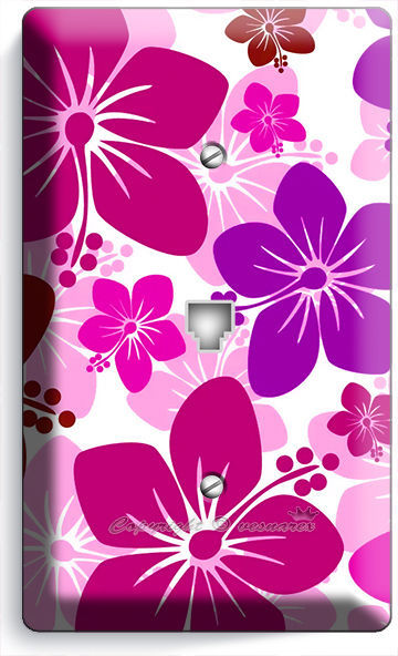 PINK HAWAIIAN HIBISCUS FLOWERS PHONE TELEPHONE WALL PLATE COVER GIRLS ROOM DECOR