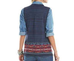 Chaps Blue Open Front Aztec Tribal Border Sweater Vest Womens M L NEW $69 image 2