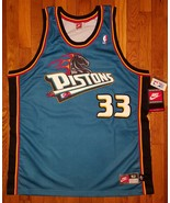 NWT Authentic 1998-99 Nike Detroit Pistons Grant Hill Teal Road Away Jer... - $500.00