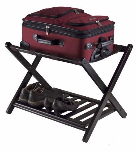 Luggage rack shelf folding wood suitecase shoe furniture coat hat racks for Folding luggage racks bedroom