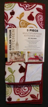APPLE KITCHEN SET 5pc Towels Drying Mat Dish Cloths Scrubbers Microfiber Red NEW image 2