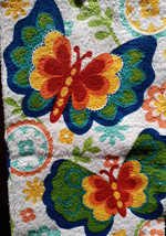 BUTTERFLY KITCHEN TOWELS Set of 2 Colorful Butterflies Flowers Blue Green NEW image 2