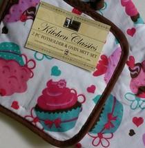 CUPCAKES OVEN MITT SET 2 Piece Potholder Cotton Brown Pink Cake Dessert NEW image 2