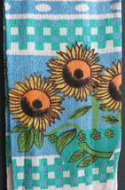 Set of 3 Sunflower Kitchen Tea Towels, Flowers on Blue Green Check, Fringed image 2