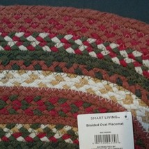 BRAIDED PLACEMATS, set of 5, 13x18 Autumn Red Green Oval, Cotton image 5