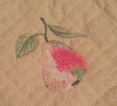 OVEN MITT POTHOLDER SET 2-pc with Embroidered Pear Fruit Yellow Green image 3