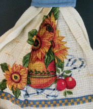 Sunflower Hanging Kitchen Tea Towel Potholder Flowers Apples in Bowl NEW image 2