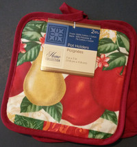 FRUIT DESIGN POTHOLDERS Set of 2 Fleur de Lis Red Country Apple Pear NEW image 2