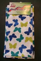 BUTTERFLY TEA TOWELS Set of 2 Blue Green Butterflies Kitchen Towel NEW image 2