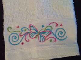 EMBROIDERED FINGERTIP TOWELS, set of 2, White Hand Towel, Blue Pink Butterfly