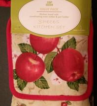 APPLE KITCHEN SET 3-pc Towel Potholder Mitt Red Country Fruit Flowers NEW image 2