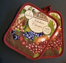 FRUIT theme OVEN MITT POTHOLDERS 3-pc Set Brown Red Grapes NEW image 2