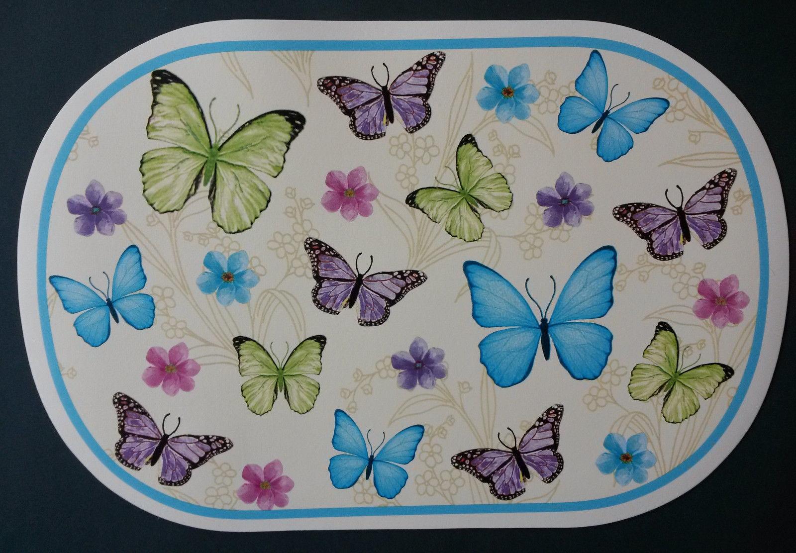 BLUE BUTTERFLY PLACEMATS Set of 4 Vinyl Oval Butterflies Flowers NEW