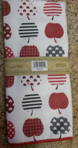 MICROFIBER KITCHEN TOWEL Red Apple Hearts Dish Cloth Fruit NEW image 2
