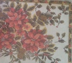 HOLIDAY PLACEMATS COASTERS 4pc Set Christmas Holly Poinsettia Leaves Red Green image 3