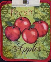 APPLE OVEN MITT POTHOLDERS 3pc Set Red Fresh Apples Fruit Green Kitchen Linen image 2