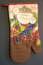 FRUIT theme OVEN MITT POTHOLDERS 3-pc Set Brown Red Grapes NEW image 3