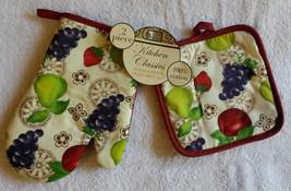 FRUIT OVEN MITT POTHOLDER 2pc Set Grapes Apple Pear Red trim NEW image 2