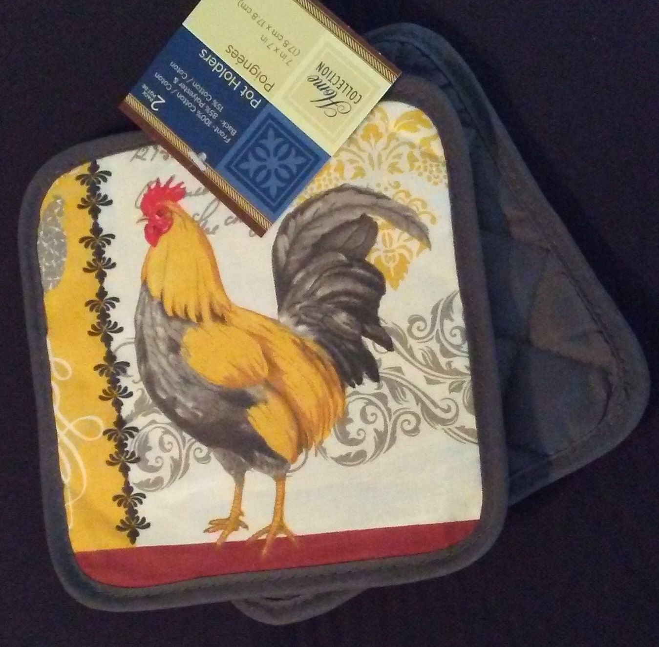 ROOSTER theme KITCHEN SET 4pc Potholders Dish Cloths French Country Grey NEW