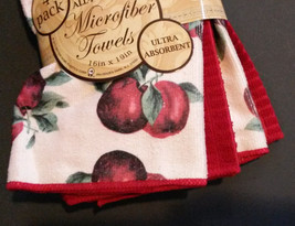 APPLE design MICROFIBER TOWELS 4pc Set Red Kitchen Towel Dish Cloth Apples NEW image 3