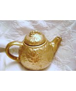 Ceramic Gold Teapot with Azure Blue Interior - $15.00