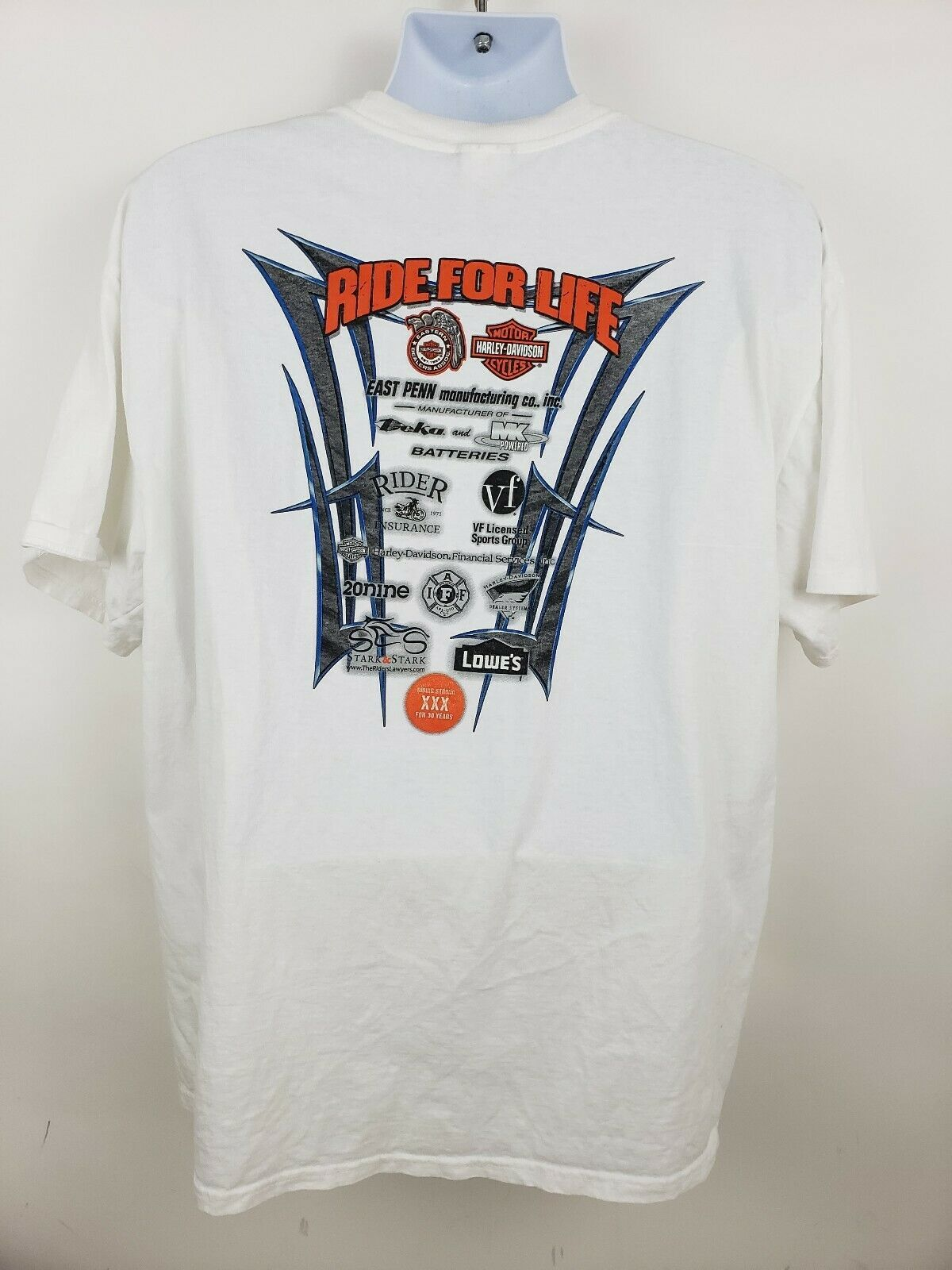 Harley Davidson Ride For Life Charity T-shirt White Size XL Eagle image 3