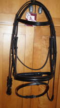 Bobby's FULL Sz BLACK Padded Mono-Crown Wide FLASH Bridle w/Reins Choice - $159.95