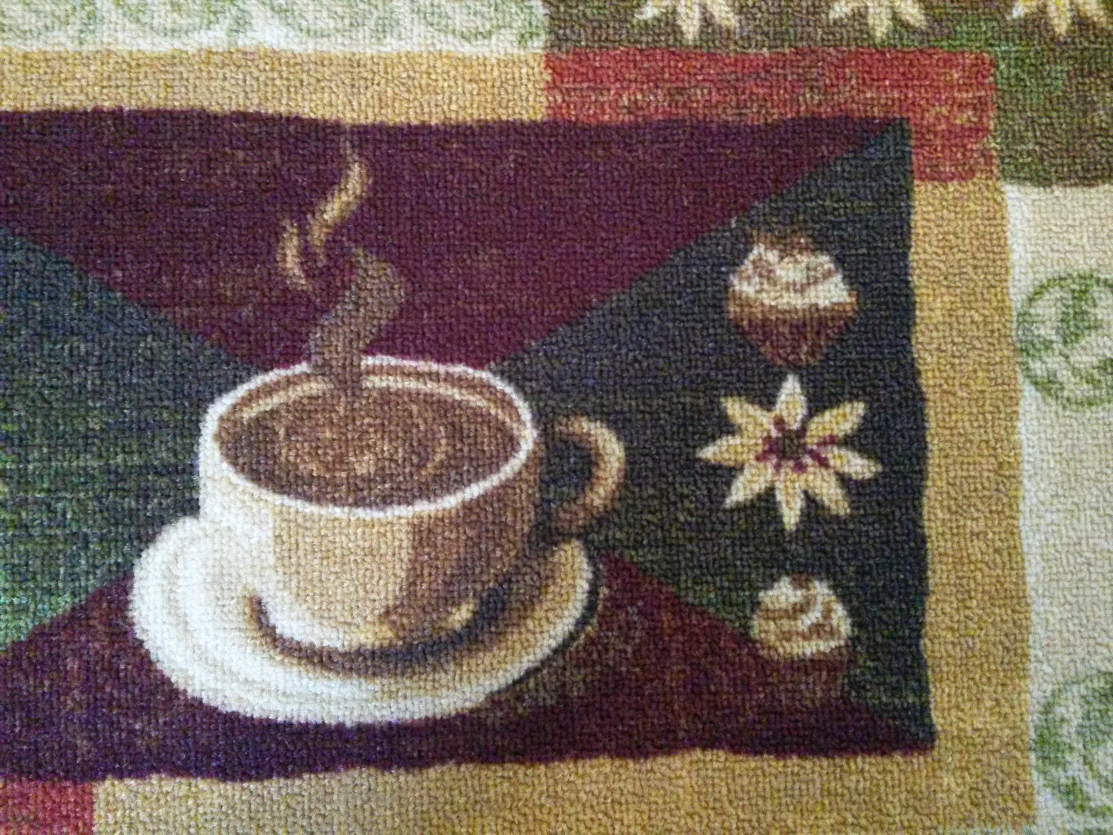 """KITCHEN SLICE RUG Coffee and Cupcakes 18""""x30"""" Non-Skid Mat Brown Cafe NEW"""