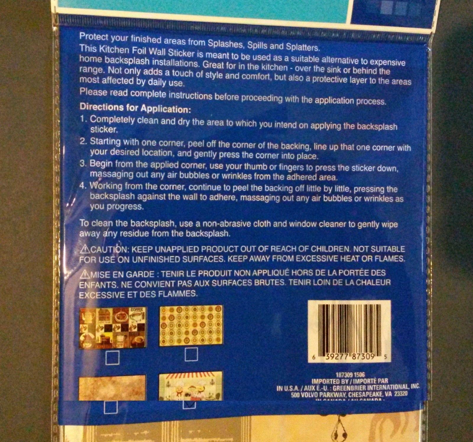 FAT CHEF BACKSPLASH Foil Wall Sticker Decal 30x18 NEW