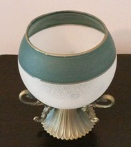 GLASS CANDLE HOLDER Frosted Sphere Green with Brass Metal Base image 3