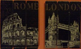 London Rome Wooden Plaque 2-pc Set 9x7 Sign Wood Wall Art NEW image 4