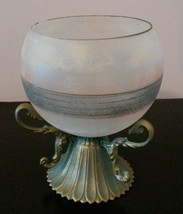 GLASS CANDLE HOLDER Frosted Decorative Sphere with Brass Metal Stand image 3