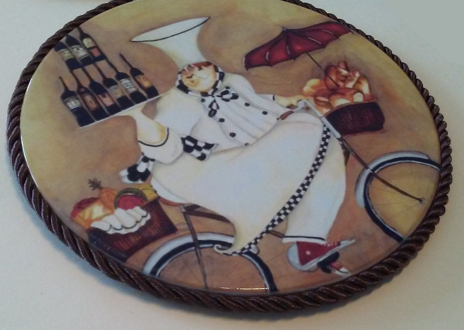 FAT CHEF PLAQUE TRIVET Wall Hanging Hot Plate Wine Cook on Bicycle NEW
