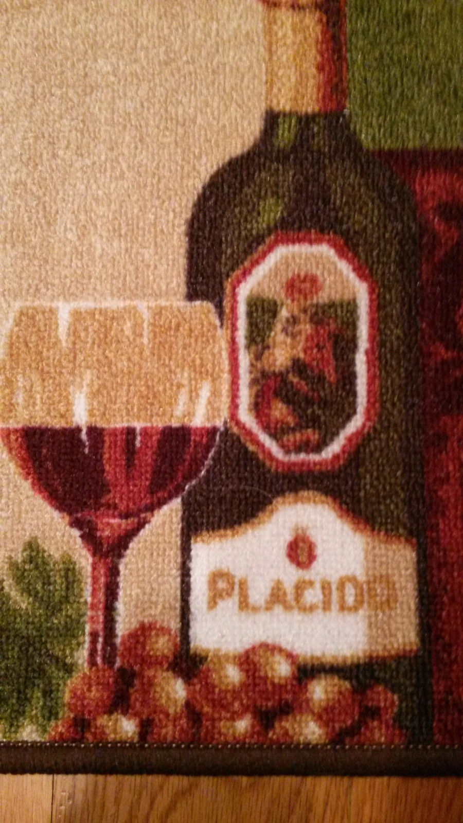 Wine Grapes Kitchen Accent Rug / Mat, Green Red, 18 x 30, NEW