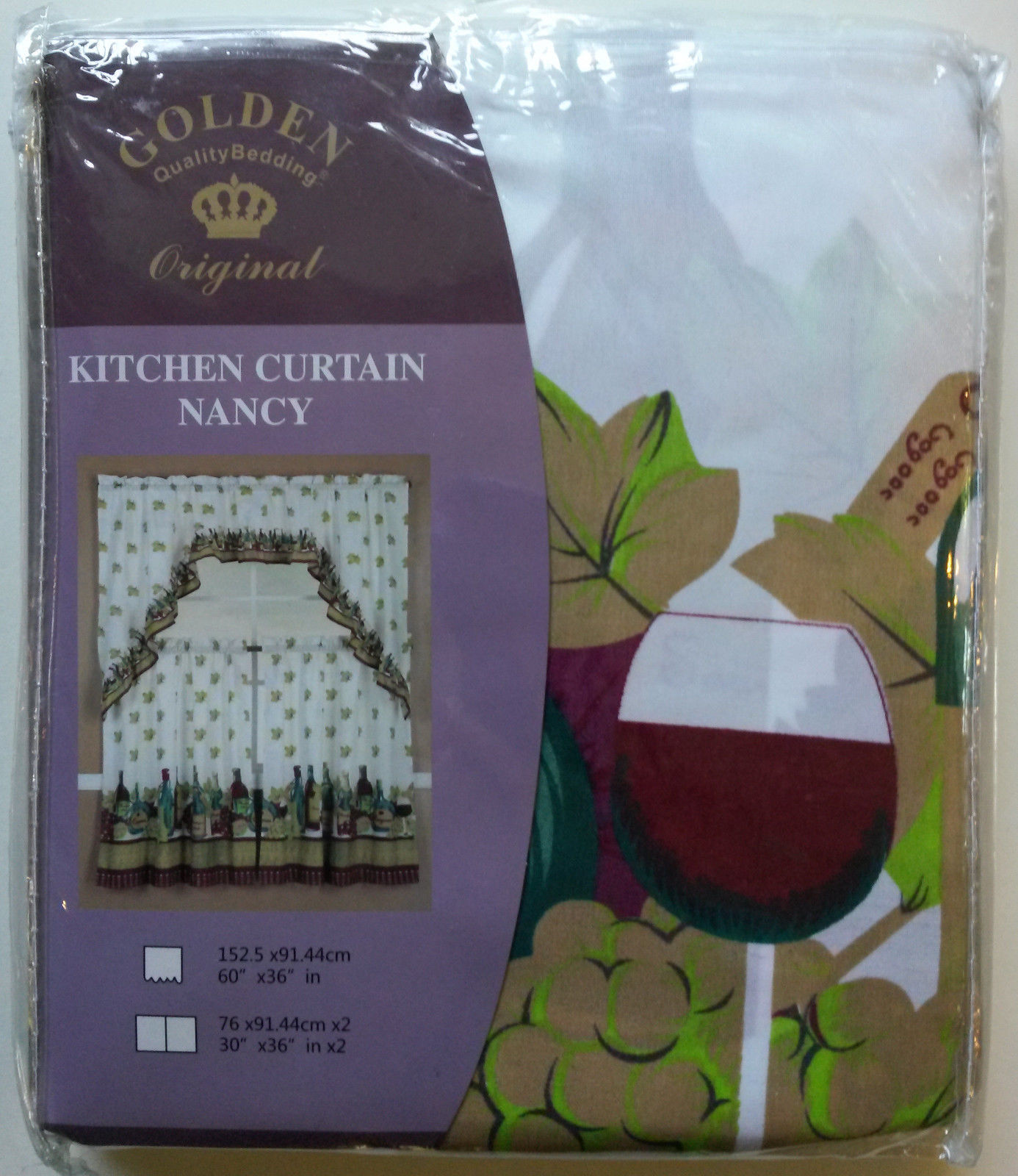 WINE BOTTLE CURTAINS 3-pc Swag + 2 Tiers Vineyard Grapes Leaves NEW