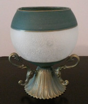 GLASS CANDLE HOLDER Frosted Sphere Green with Brass Metal Base image 2